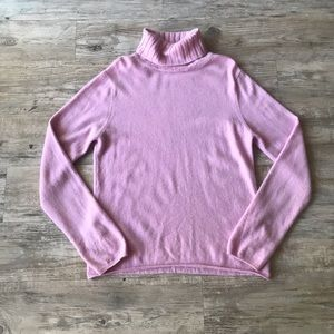 KINROSS   TURTLE NECK PINK CASHMERE SWEATER